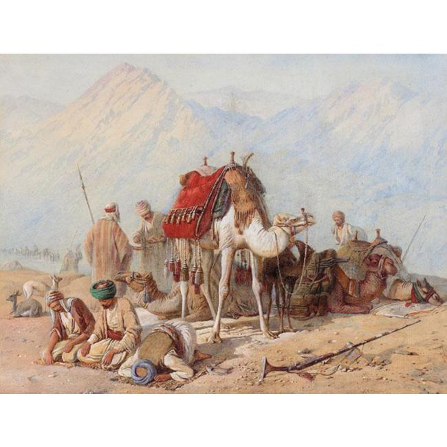 Arabs praying in the Desert with a Caravan of Camels beyond