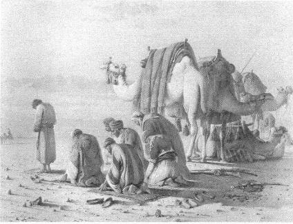 An Arab Camel Train at Prayer in the Desert