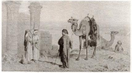 An Arab trader talking to women on the banks of the Nile