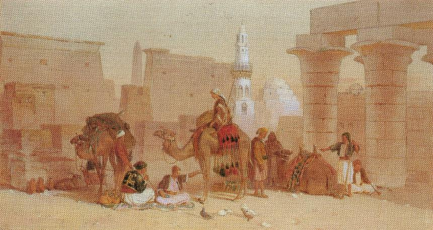 Arab Traders feeding pigeons near a Mosque