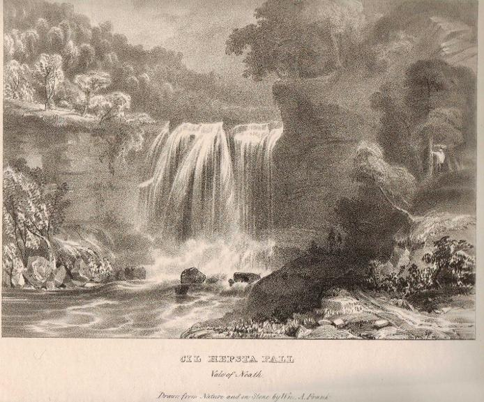 Cil Hepsta Fall Vale of Neath, waterfall lithograph