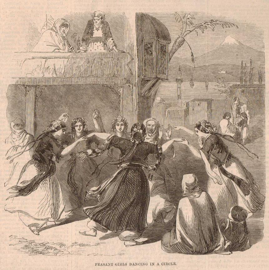 Easter Pastimes in Syria, Peasant Girls dancing in a circle Latakia Mount Cassius. Bay of Antioch Illustrated London News 1860 Joseph Austin Benwell, Syria in happier times