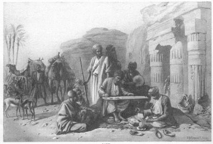 Egypt: music outside a Temple' Joseph Austin Benwell1867, or 'The wandering Musicians'
