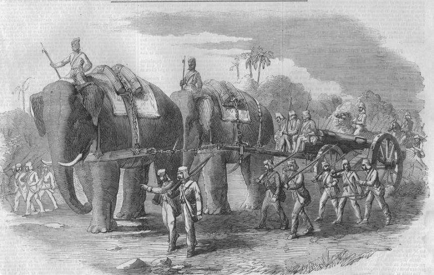 Elephant battery on the march Illustrated London News 1858