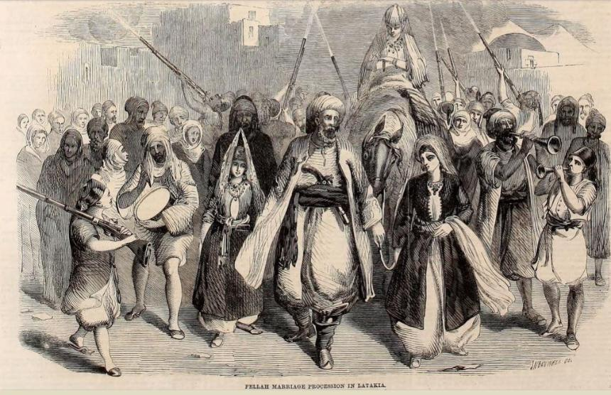Fellah Marriage Procession in Latakia' Syria, Illustrated London News 1860
