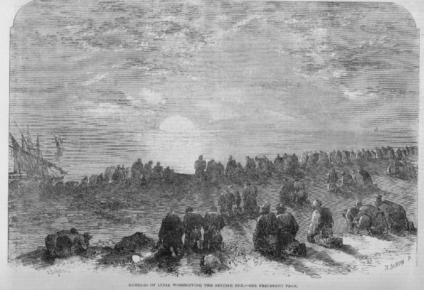 Guebers of India worshipping the setting sun 1863