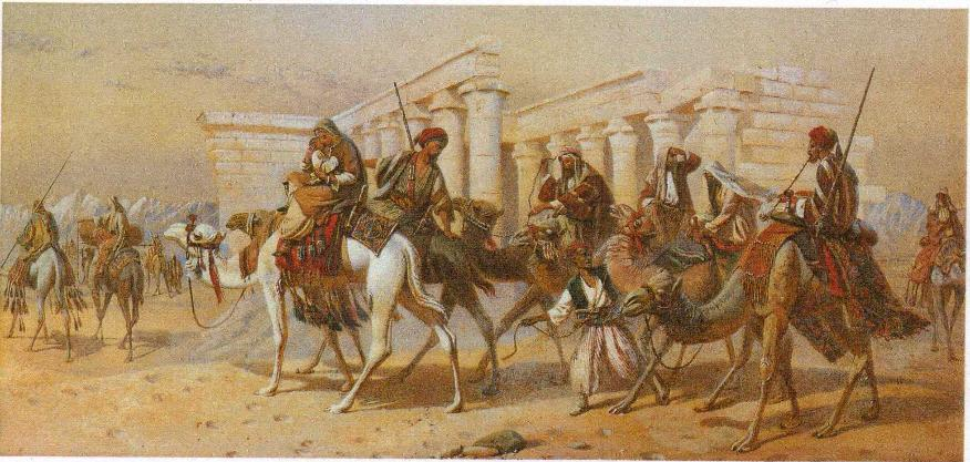 'In Nubia: Arabs on camels before the ruins of a Temple'  1870 Joseph Austin Benwell