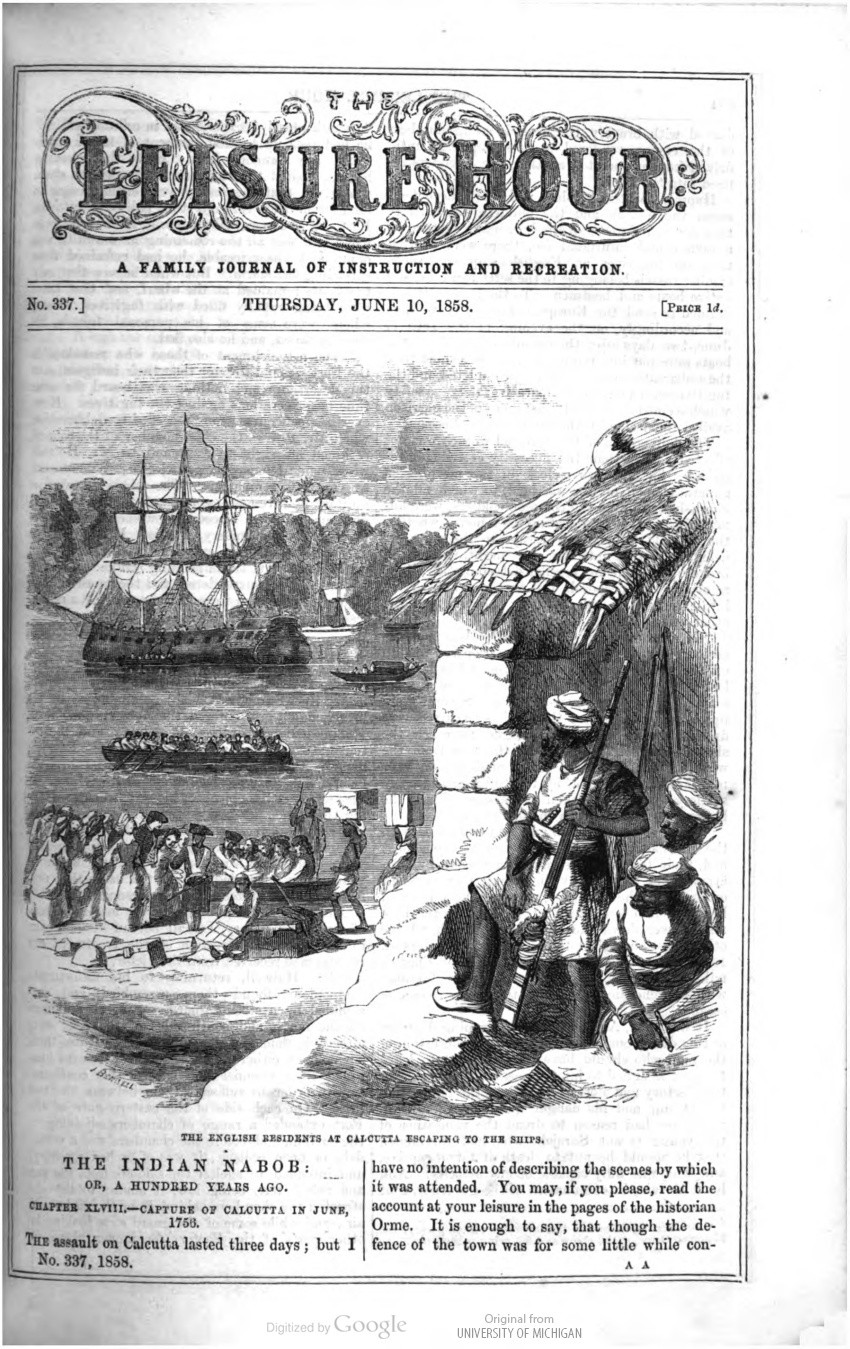 The English Residents at Calcutta Escaping to the Ships, The Leisure Hour 1858