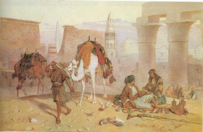 Resting among Egyptian ruins at evening, 1875, Joseph Austin Benwell